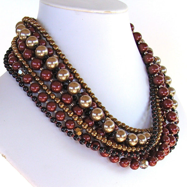 "Pinot: 17"" Multi Strand Pearl Necklace"