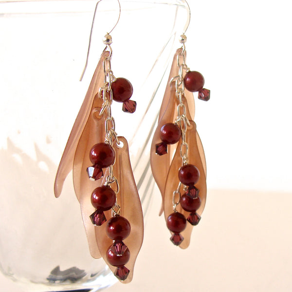 petal earrings in burgundy and taupe
