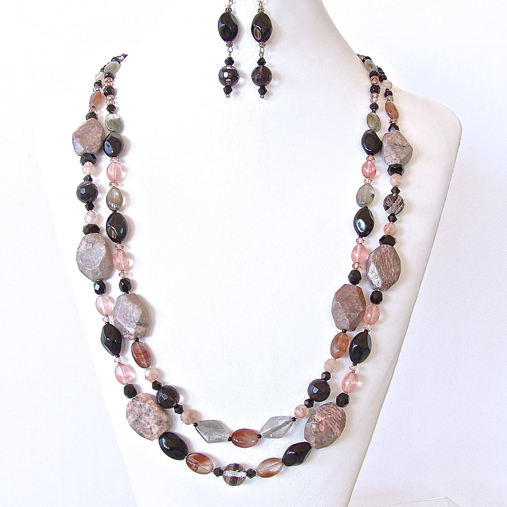 Pink Zebra Jasper Necklace Set
