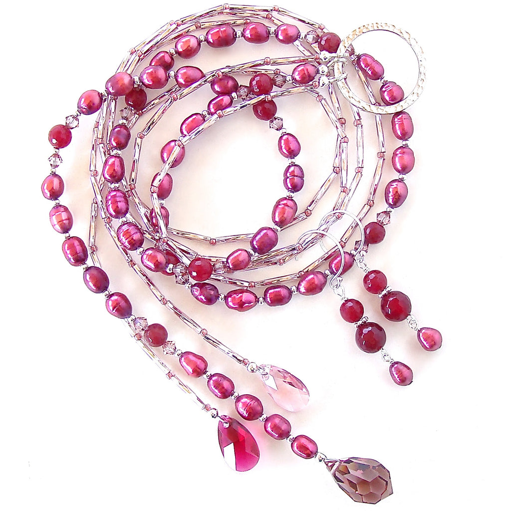 Pink Lariat Style Necklace