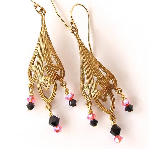 Pink and Black Earrings