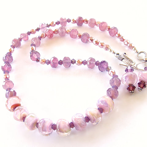 "Cotton Candy: 18"" Orchid Colored Jewelry Set"