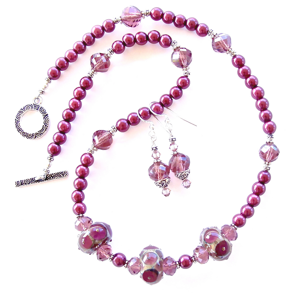 Plum Necklace with Art Glass