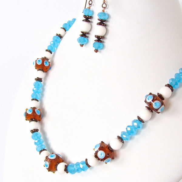 Hobie: Blue and White Necklace in Nautical Style