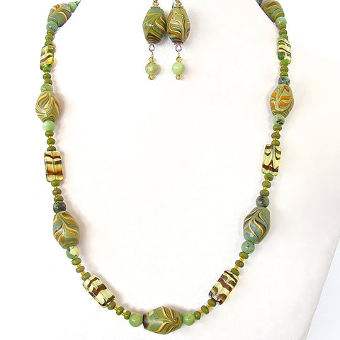Polymer Clay Bead Necklace Set