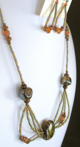 "Arbor: 20"" Poppy Jasper Necklace and Earring Set"
