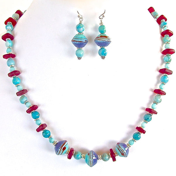 Primary Colored Beaded Necklace Set
