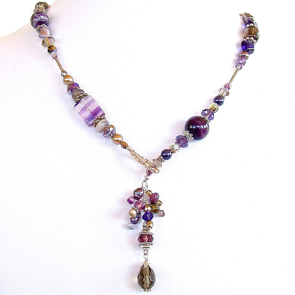Purple Beaded Lariat