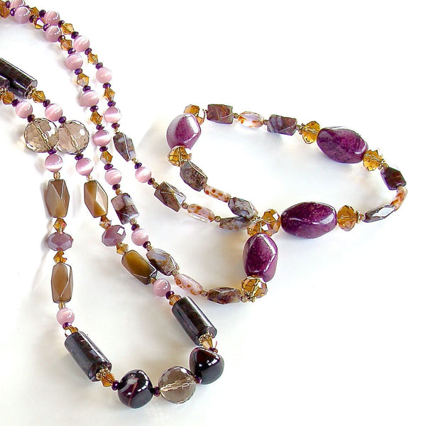 Purple and Amber Semi-precious Necklace