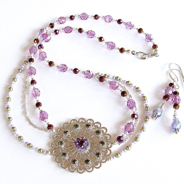 Purple and Green Crystal Necklace Set