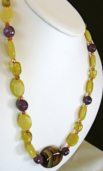 Purple and Lime Hand Blown Glass Bead Necklace
