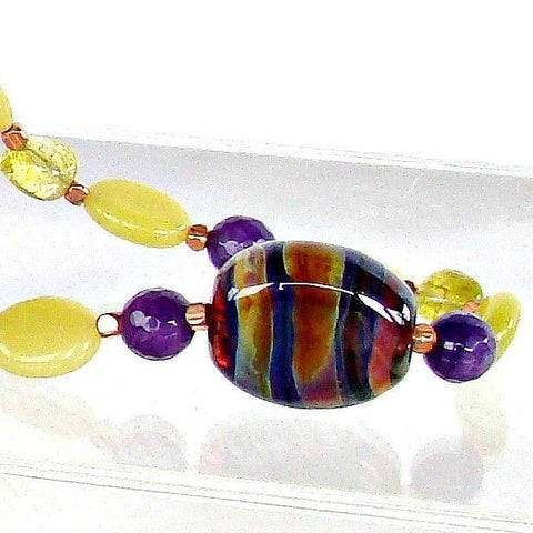 Purple and Lime Lampwork Necklace Set