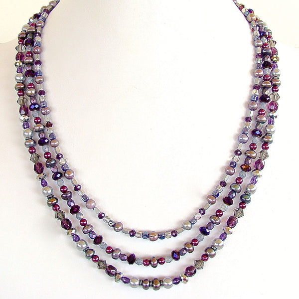 "Nehi: 22"" Purple Multi Strand Necklace"