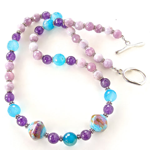 Purple and blue necklace with Art Glass