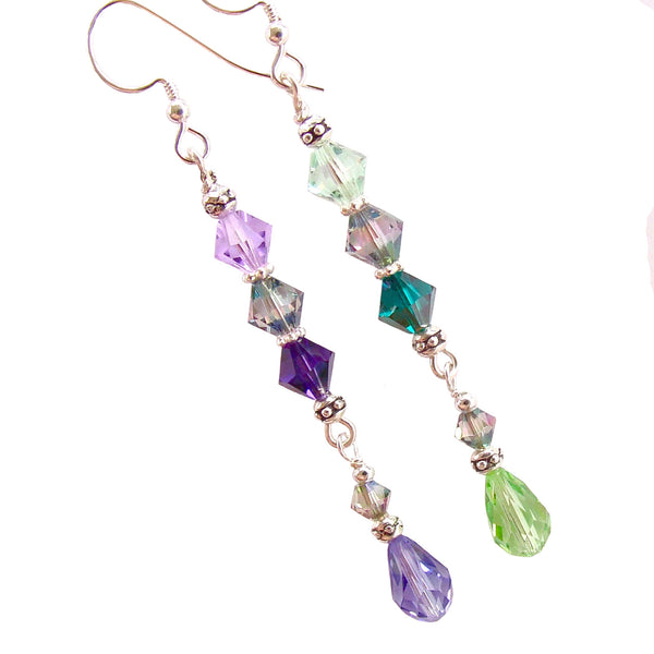 Purple and green earrings