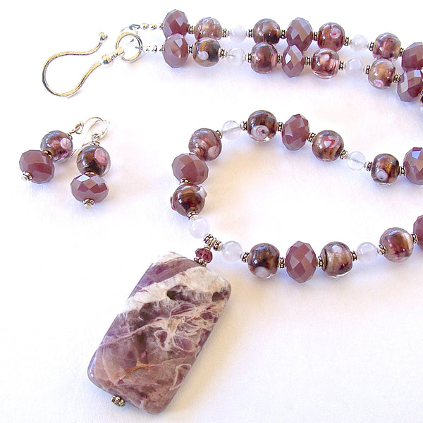 Dani: Amethyst Pendant Necklace Set