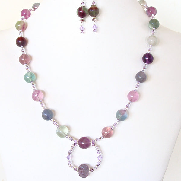 Rainbow Gemstone Necklace Set