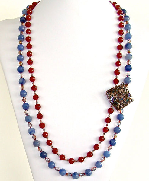 Red Carnelian and Blue Sodalite Necklace
