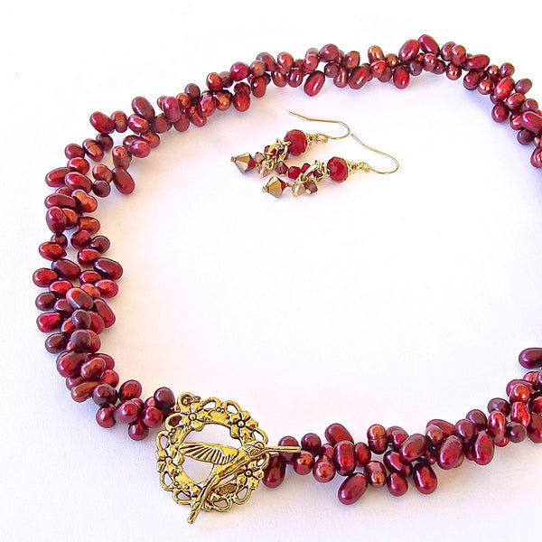 Red Necklace with Front Closure