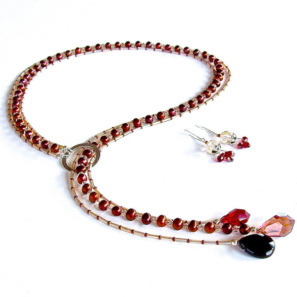 Red pearl lariat necklace set