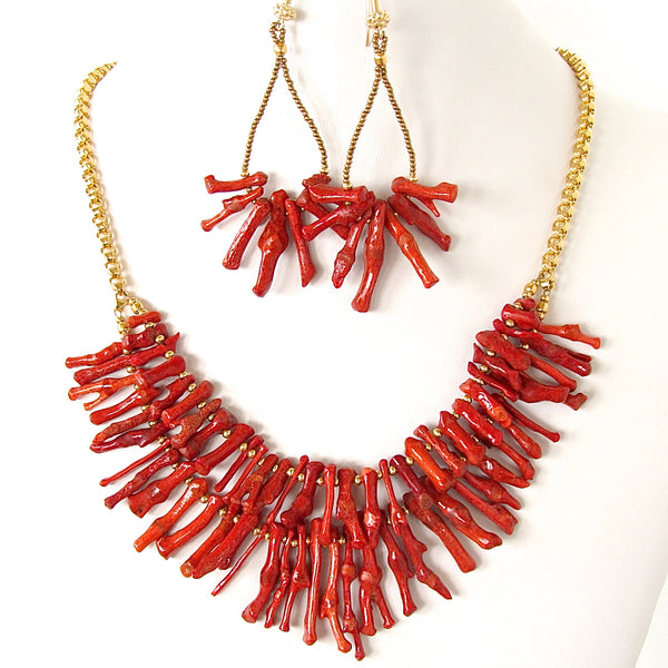 Palancar: Red Coral Statement Necklace Set