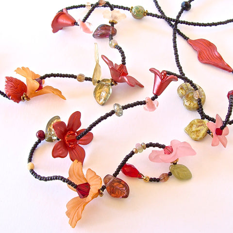 Lady Bug: Red Flower Necklace