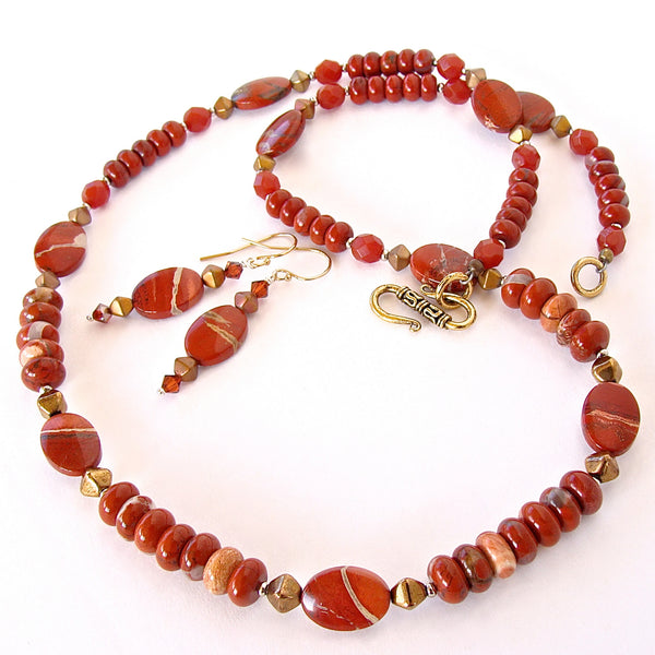 Red Necklace with Jasper Gemstones