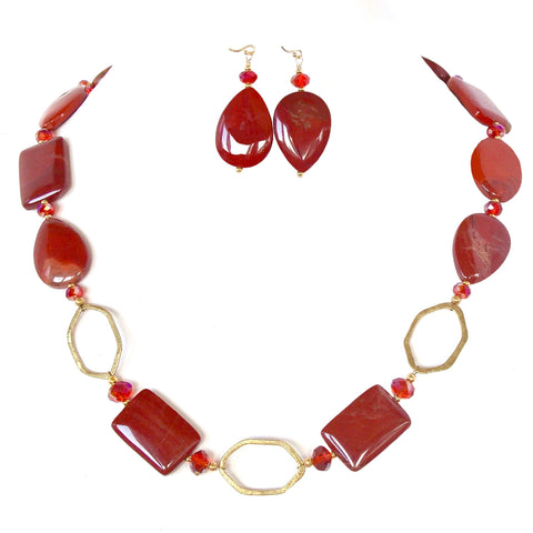 red gemstone necklace set