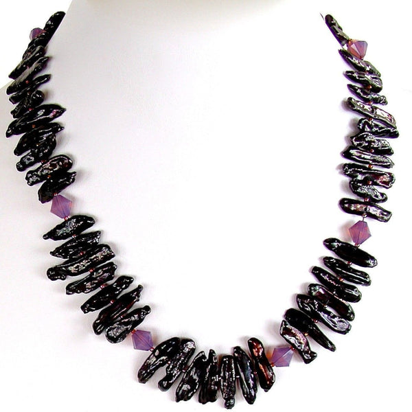 Reversable black pearl necklace