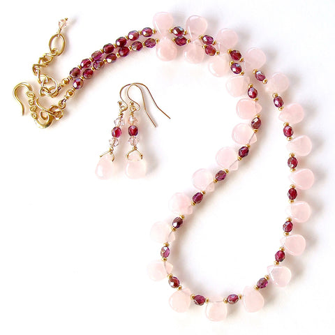Rose Quartz Necklace Set