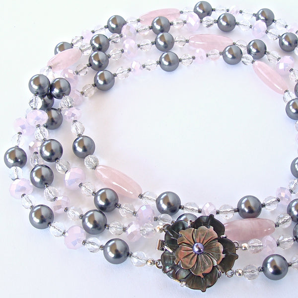 Celine: Double Strand Pink and Silver Necklace