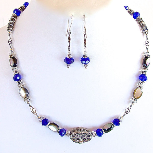 Royal Blue Crystal Necklace Set