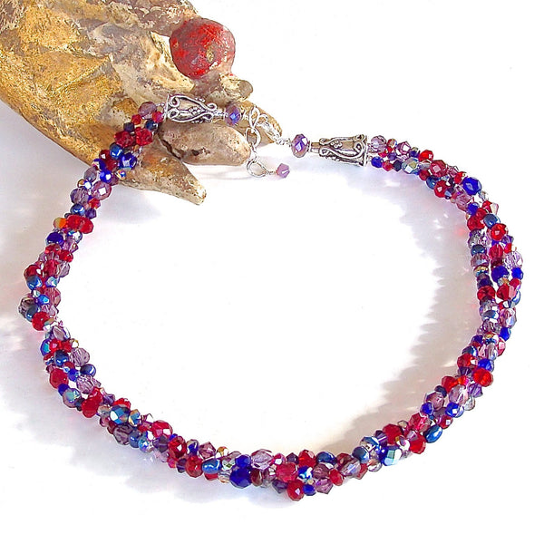 Ruby Red and Saphirre Blue Necklace
