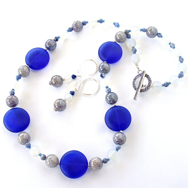 Sea glass necklace in blue