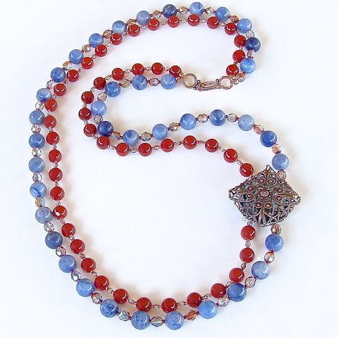 Semi-precious Carnelian and Sodalite Beaded Necklace