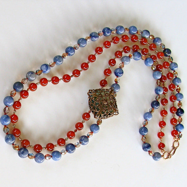 Semi-precious Red and Blue Necklace