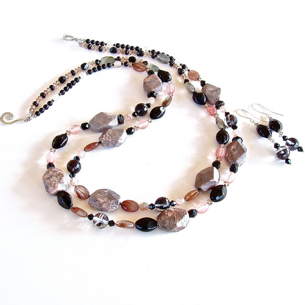 Semi-precious pink and black beaded necklace set