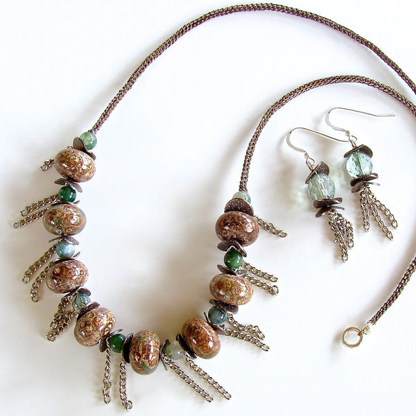 Silver chain fringe and semi-precious necklace