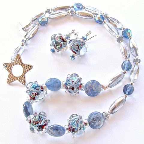 Silver and Blue Necklace Set with Art Glass