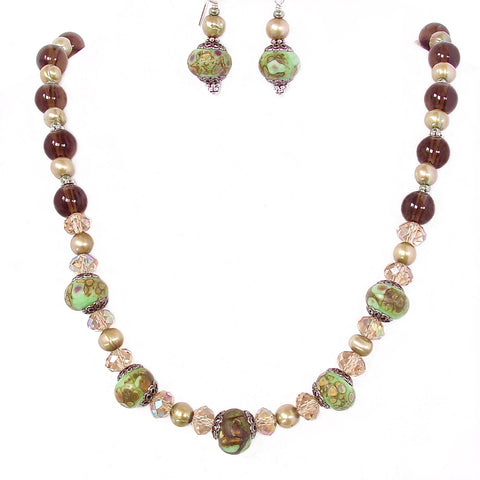 Smoky Quartz Necklace with Art Glass and Freshwater Pearls