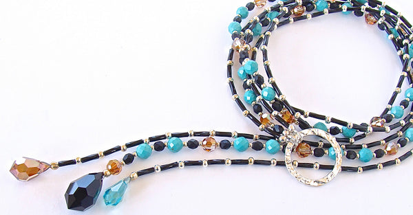 Moon Walker: Turquoise Blue Lariat Necklace