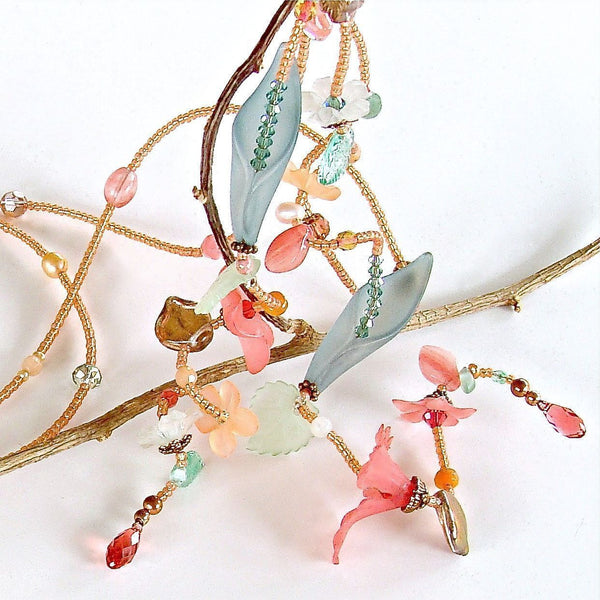 Spring Pearl and Crystal flower lariat