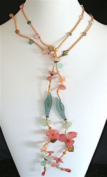 Spring Punch 50 inch Pearl and Crystal Lariat Necklace