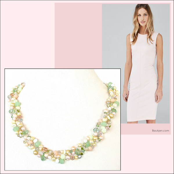 Stylish apparel from Baukjen.com with pastel necklace