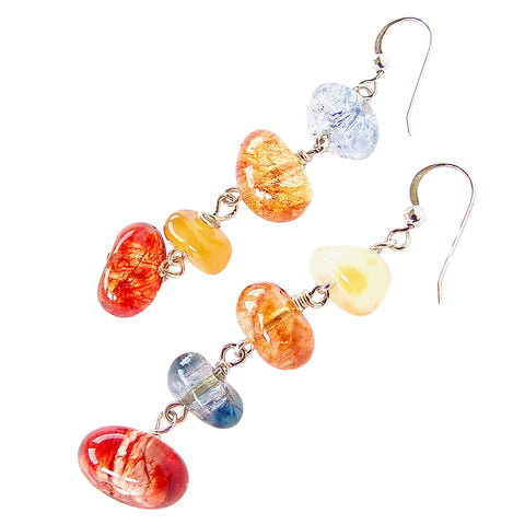 Summer Earrings of Mixed Quartz