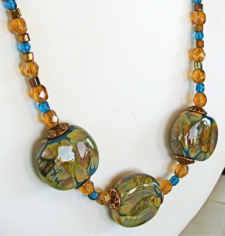 "Sunflower: 19"" Blown Glass Necklace Set"