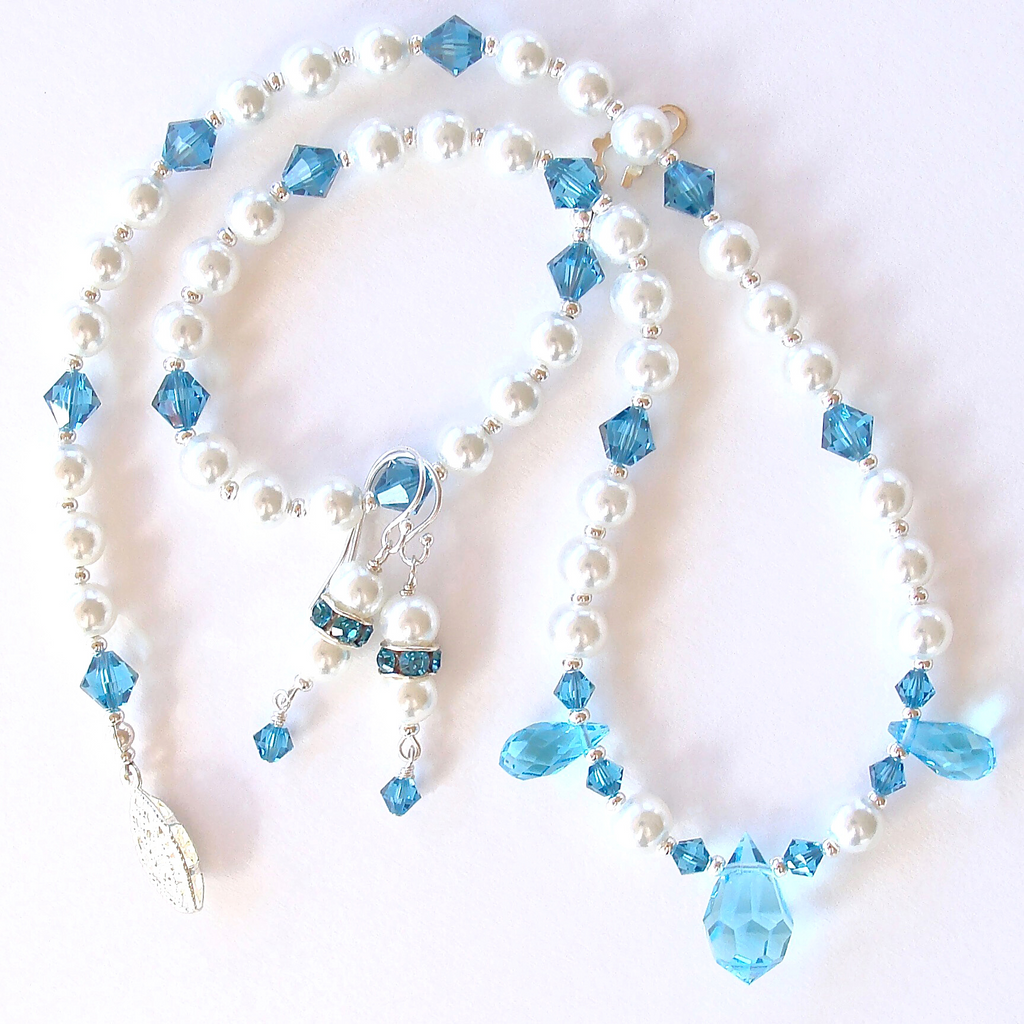 Swarovski blue necklace set