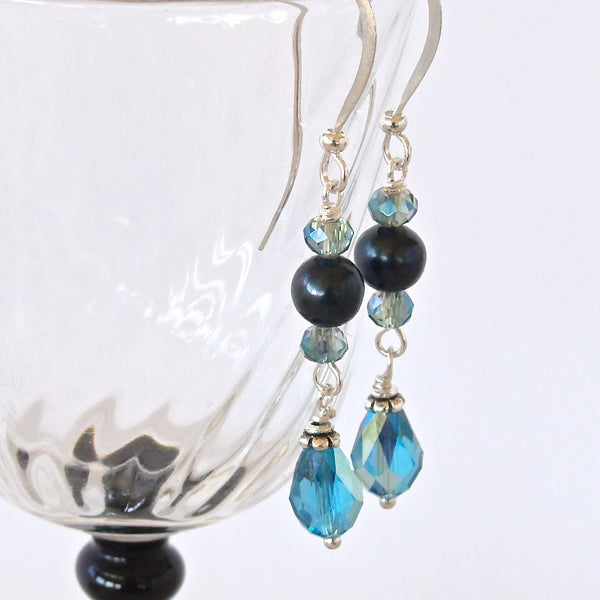 Teal Swarovski Crystal and Pearl Earrings
