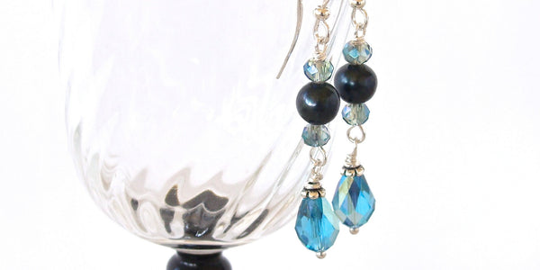 Teal and Turquoise Crystal Earrings