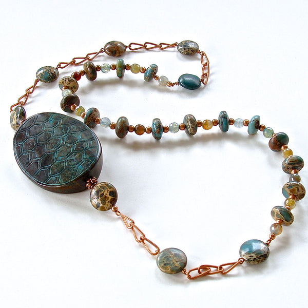 Teal tortoise shell and gemstone beaded necklace